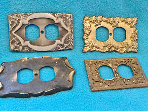4 Vintage Brass Ornate Outlet Covers