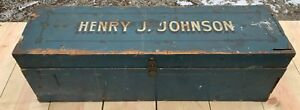 Antique Wood Tool Box In Old Blue Paint