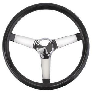 Speedway Classic Solid Spoke Steering Wheel No Holes Black 13 Inch