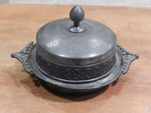 Antique Meriden B Co Silver Plated 4974 Butter Dish