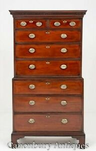 Antique Chest On Chest Georgian Mahogany 18th Century