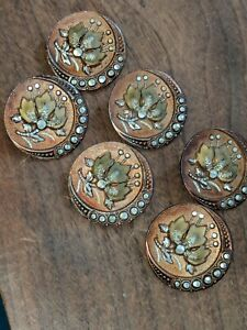 Gorgeous Set Of 6 Antique Victorian Metal Picture Buttons Flowers W Cut Steels
