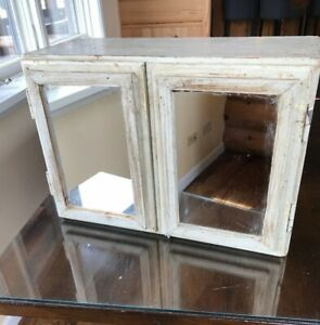 Antique Primitive Double Mirrored Wood Wall Mounted Medicine Bath Cabinet