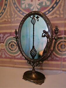 Antique Vintage Art Nouveau Brass Mirror Vanity Table Mirror Make Up Mirror