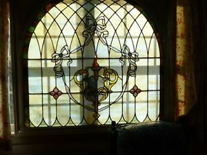 Antique American Stained Glass Window Arched Architectural Salvage