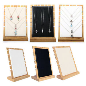 3 Pieces Black white beige Modern Wooden Necklace Tabletop Display Board