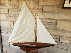 Vintage Model Wooden Pond Yacht Sail Boat Sailboat Ship 36