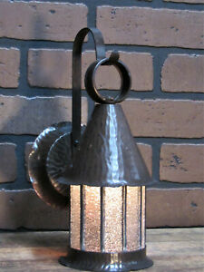Vintage Antique Copper Porch Light Leaded Glass Sears Bungalow Craftsman 11 T
