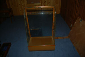 Vintage Circa 1940 S Waddell Wood And Glass Display Case With Curved Glass