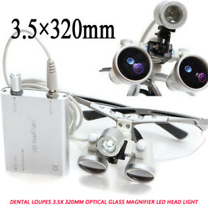 Dentist Dental Loupes 3 5x 320mm Optical Glass Magnifier Led Head Light Denshine