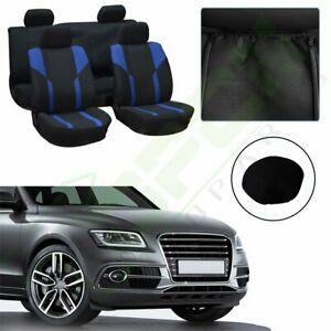 10 Pieces For Toyota Full Set Car Seat Covers W Headrest Covers Blue Black