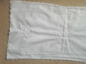 Antique Irish Linen Table Bed Runner