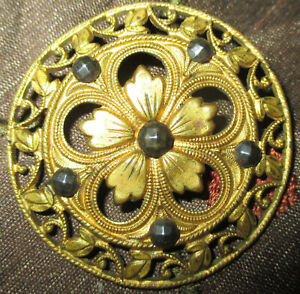 Lg Antique Victorian Pierced Metal Button Openwork Brass Flower W Cut Steels
