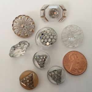 8 Clear Silver Gold Painted Antique Carved Cut Glass Buttons Moon Mixed Lot Set