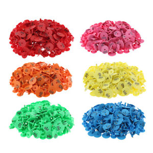 6 color 600pcs Small Pre Numbered Livestock Ear Tag For Pig Cow Goat Sheep