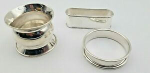 Group Of 3 Vintage Sterling Silver Napkin Rings 6389