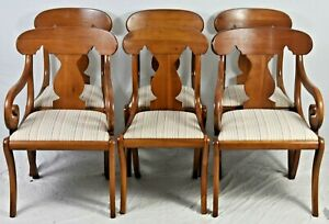 Set Of 6 Henkel Harris Mahogany Regency Style Dining Chairs Williamsburg Style