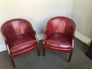 Baker Furniture Barrel Back Leather Chairs Pair