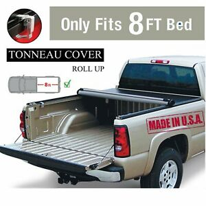 Premium Black 8ft Roll Up Tonneau Cover Bed 1988 2007 For Chevy For Silverado