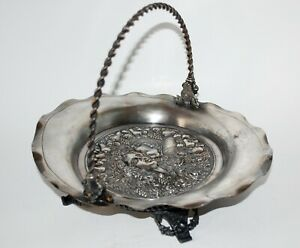 Victorian Silverplate Figural Brides Basket Lady Fairy J W Tufts