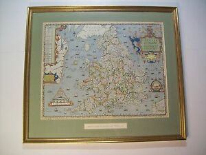 Vintage Saxton Map Of England Wales 1579 Print Framed 21 25 X 24 5 Antique
