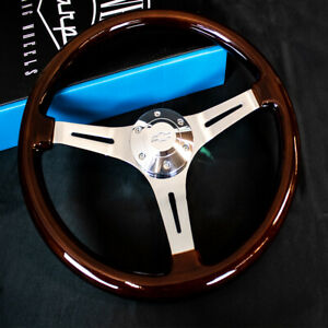 15 Inch Chrome Polished Steering Wheel Dark Wood 3 spoke With Chevy Horn Button