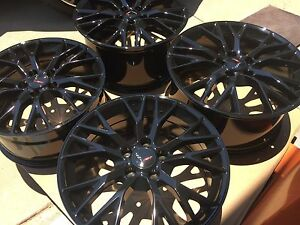 Black 19x8 5 20x10 C7 Z06 Zo6 Style Corvette Wheels Fits 2005 2013 C6