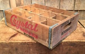 Vintage Crystal Club Beverage Soda Wooden Box Crate Country Store Display Sign