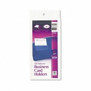 1 Case 36 Avery Self adhesive Top load Business Card Holder 3 5 X 2 10pk 73720