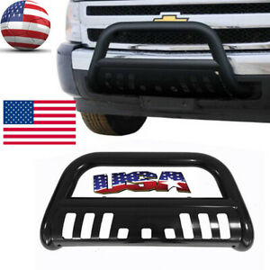Front Bumper Grille Guard W skid Plate For Chevy Silverado 2500 3500 11 18 Front