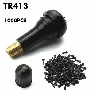 1000pc Car Auto Tr 413 Short Rubber Tubeless Snap in Tyre Tire Valve Stems Black