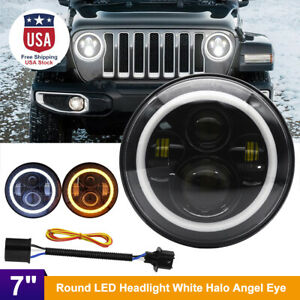 7inch Dot Round Led Headlight Lamp w Halo Angle Eye For Jeep Wrangler Jk Lj Tj