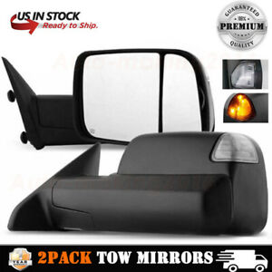 Dodge Ram 1500 2500 3500 Towing Mirrors Pair Power Heated Black For 2002 2008