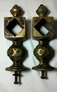 Pair Antique Brass Finial Post Top Topper Diamond Cube Architectural Salvage