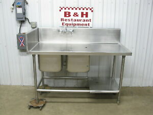 60 Stainless Steel Heavy Duty Work Prep Table Two Compartment 2 Bowl Sink 5
