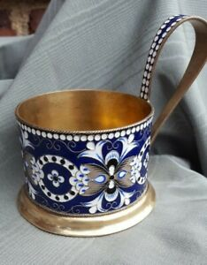 Vintage Russian Sterling 916 Silver Enamel Tea Glass Holder Soviet
