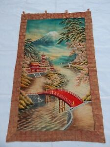 Antique Chinese Japanese 19thc Landscape Hand Embroidery Panel 146x90cm