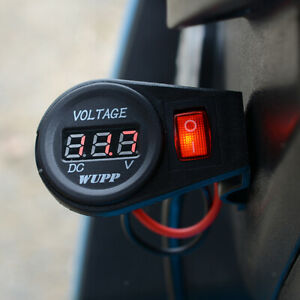 Motorcycle Waterproof Red Led Digital Display Voltmeter Socket Switch 12v Dc