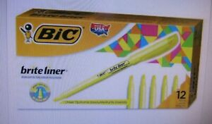 Bic Brite Liner Highlighter Chisel Tip Yellow case Of 18 12 To A Box 54e