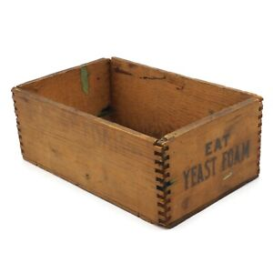 Antique Vintage Rustic Small Wooden Dove Tail Yeast Foam Box 8 75 Inch