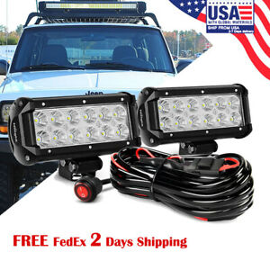 Nilight 2pcs 6 5 36w Flood Led Work Driving Light With Off Road Wiring Harness