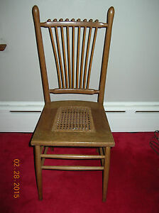Vintage Antique Spindle Back W Cane Seat Chair