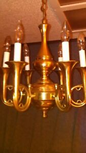 Vintage Cast Brass Six French Horn Candle Fox Hunt Thyme Italian Chandelier