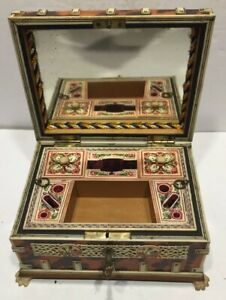 19th Century Anglo Indian Sewing Box Etui Faux Tortoise With Key