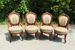 Elegant Set Of Four Walnut Victorian Dining Chairs With Courting Couple Tapestry
