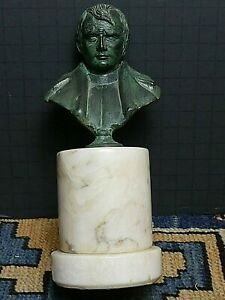 Vintage Napoleon Bronze Bust On Marble Made In Italy Excellent