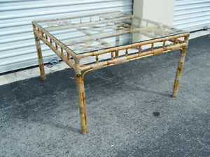 Vintage Mcm Chinese Chippendale Burnt Bamboo Wicker Wrap Side Table
