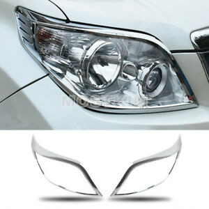 Abs Chrome Front Headlight Lamp Trim Cover For Toyota Prado Fj150 2010 2013