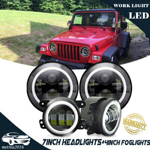 For Jeep Patriot Liberty 7inch Halo Headlight Halo Led Drl Fog Lights Combo Kit