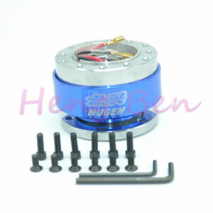 Blue Mugen Aluminum Universal Steering Wheel Quick Release Hub Adapter Boss Kit